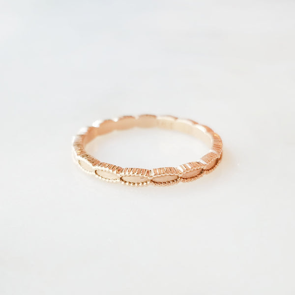 Rose Gold Ribbed Seed Band