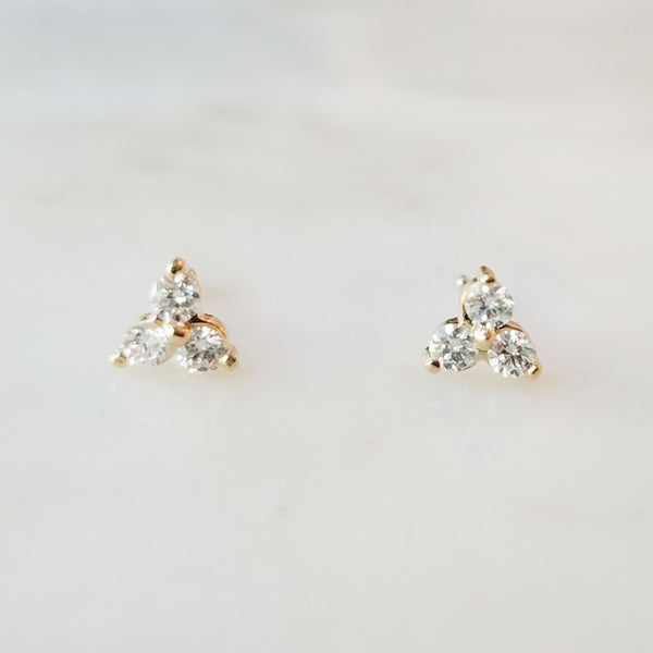 Trios Triple Diamond Stud Earrings