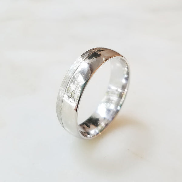 Redbud White Gold Offset Wedding Band
