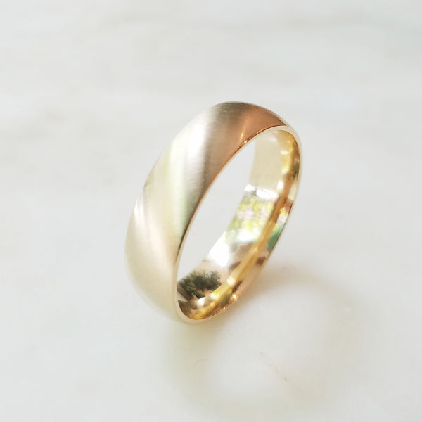 Angled Satin Wedding Band