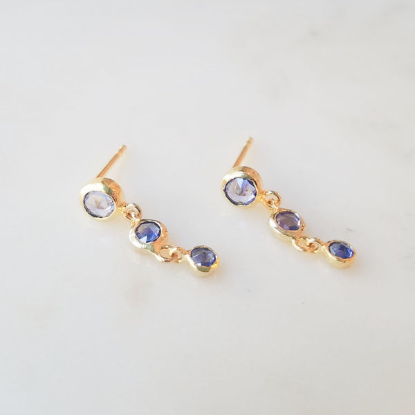 Cascading Blue Sapphire Earrings