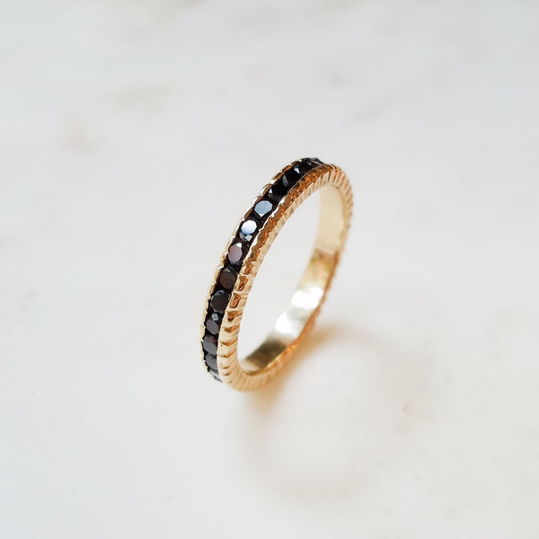 Textured Black Diamond Infinity Band