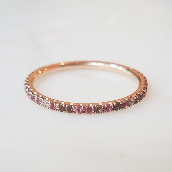 Pink and Purple Sapphire Eternity Band