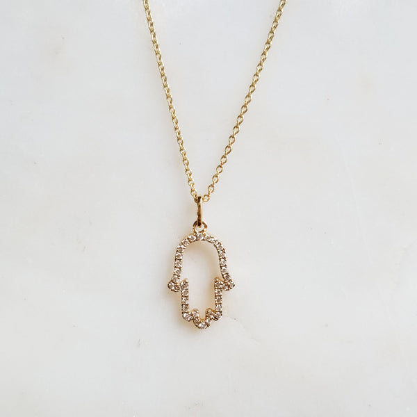 Protection Diamond Hamsa Necklace