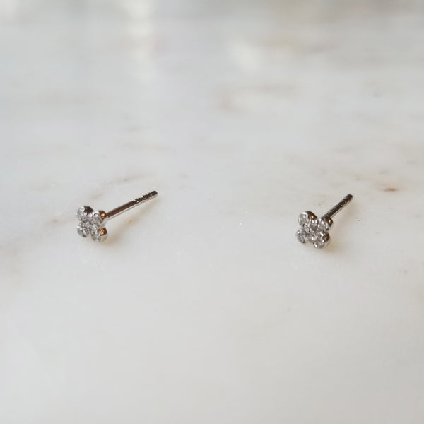 Pavé Diamond Clover Earrings