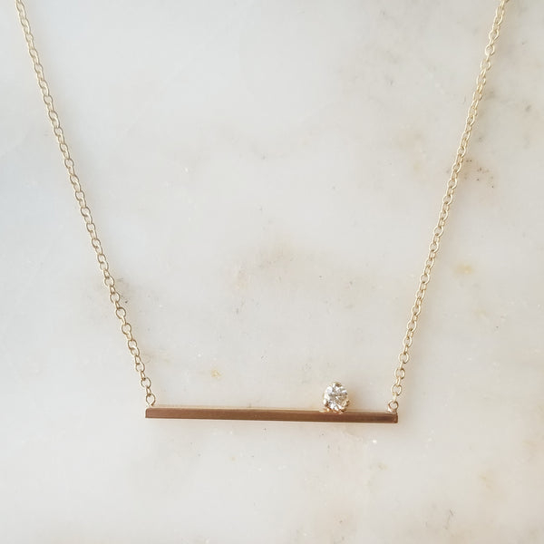 Diamond Set Straight Bar Necklace