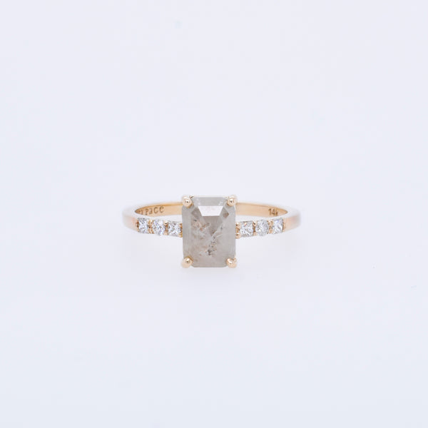 Opaque 0.90ct Rectangle Diamond Engagement Ring