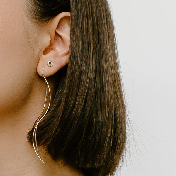Extra Long Curved Thread-Thru Earrings