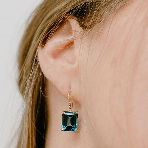 Blue Topaz Emerald Cut Earrings