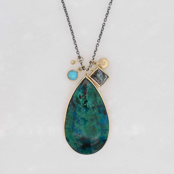 Chrysocolla Cluster Necklace