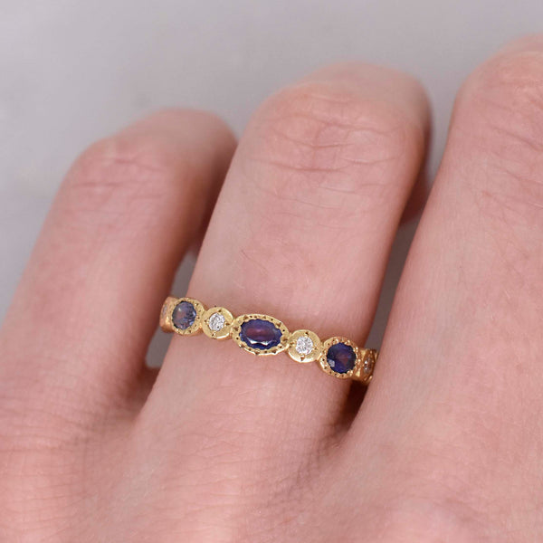 Oval Sapphire and Diamond Eternity Band