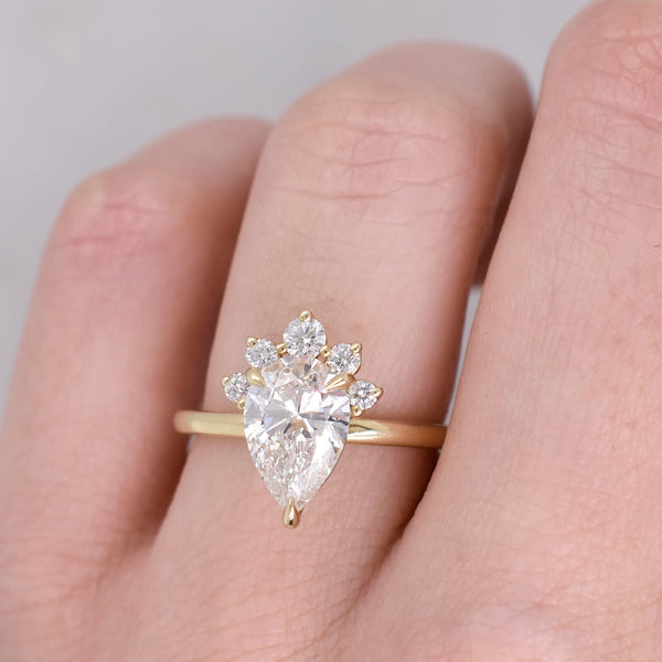 Eleanor Pear Cut Engagement with Diamond Crown Accent