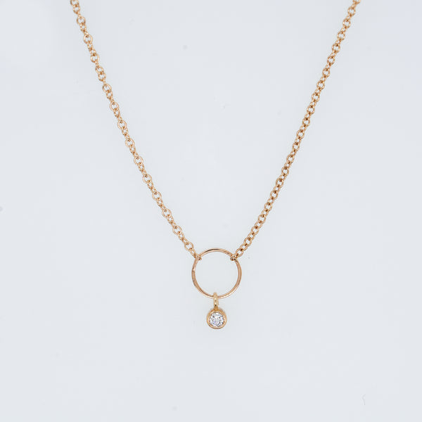 Anchored Circle Diamond Necklace