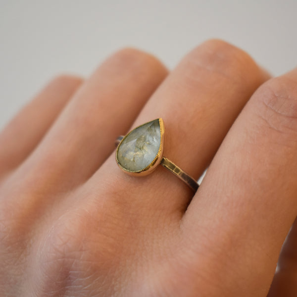 Pear Aquamarine Ring