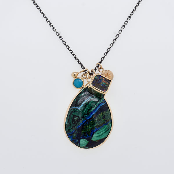 Azurite and Opal Cluster Necklace