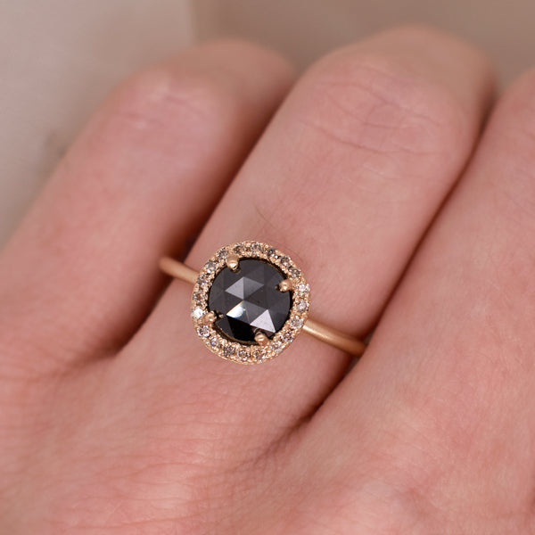 Limited Edition Black Diamond Rose Cut Ring