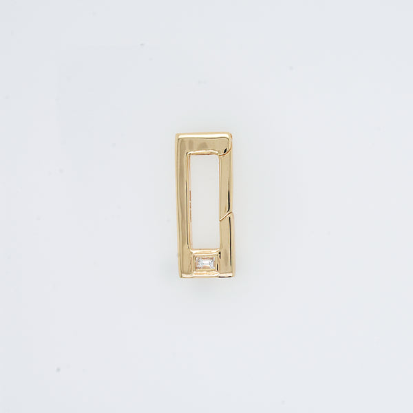 Baguette Diamond Push Lock Charm Bail