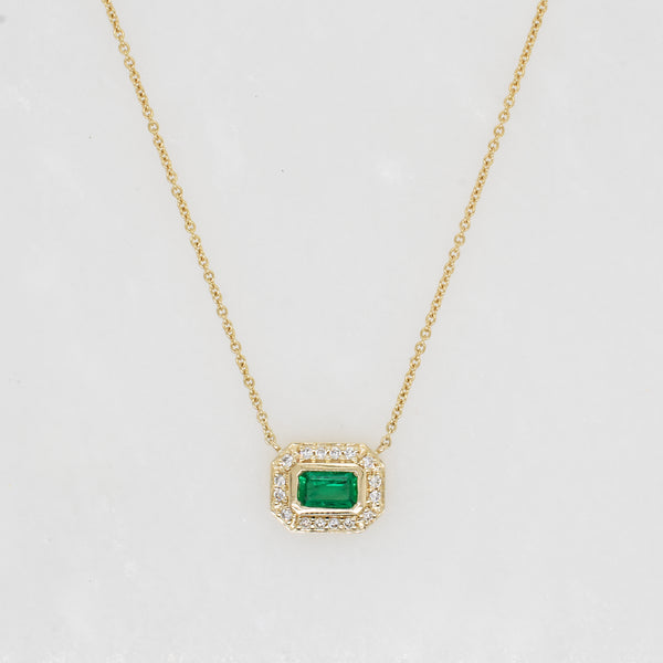 Aurora Baguette Emerald & Diamond Halo Necklace