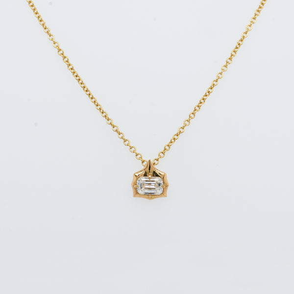 Sophisticate Petite Emerald Cut Diamond Necklace