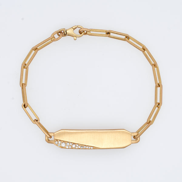 Matte Gold Bar Bracelet with Diamond Accents