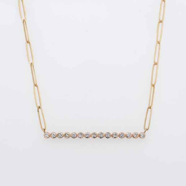 Diamond Bar Necklace with Paperclip Chain