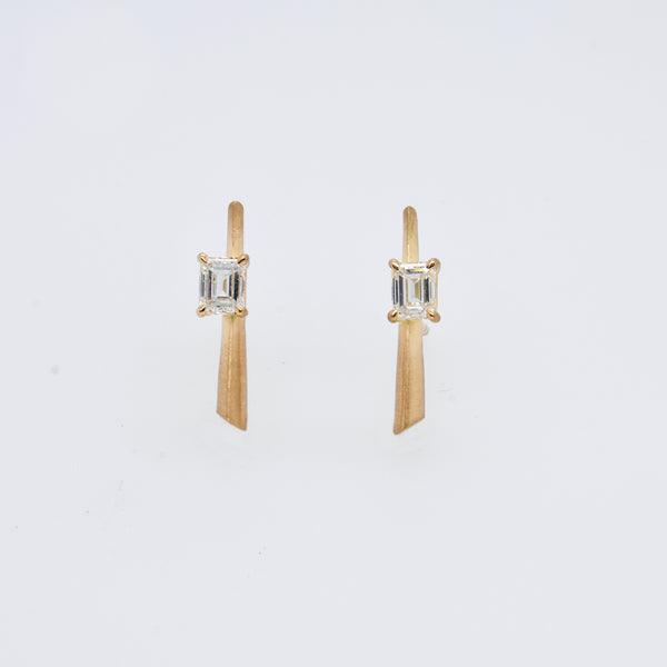 Emerald Cut Diamond Bar Studs