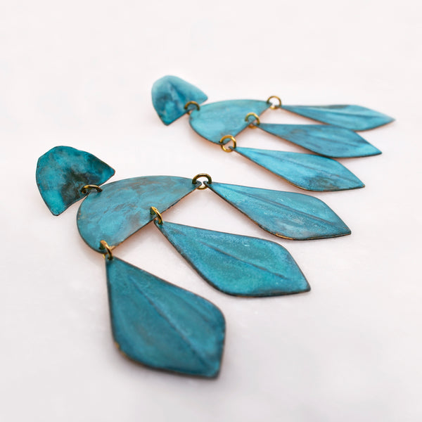 Blue Patina Statement Earrings