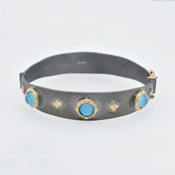 Old World Wide Turquoise and Diamond Bracelet