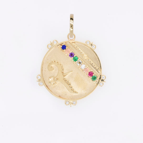 """Love Adore"" Lily Dove Medallion with Diamond Florets"