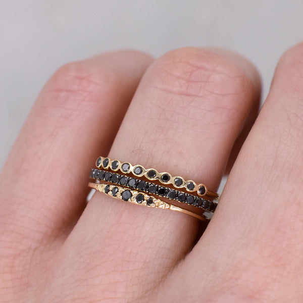 Gold Flamenco Ring with Black Diamonds