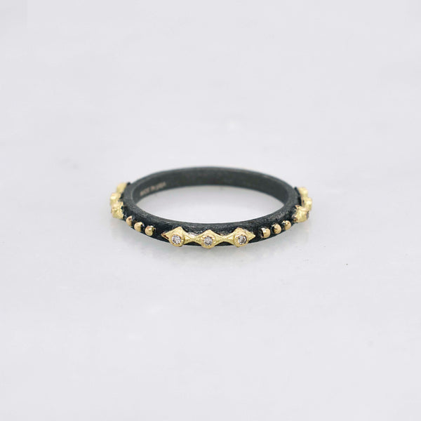 Crivelli Black and Gold Stack Ring