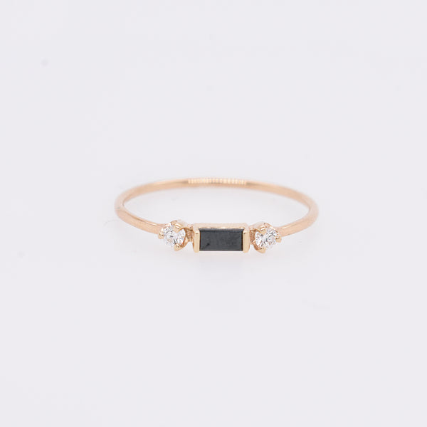 Baguette Black Diamond Stacking Ring
