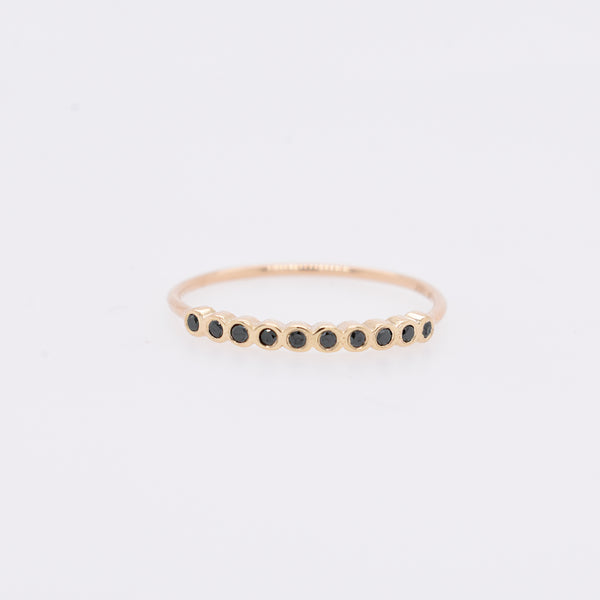 Black Diamond Bezel Stacking Ring