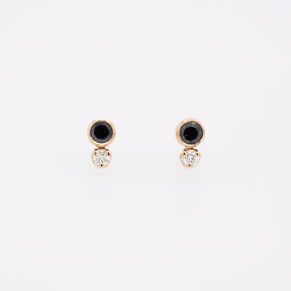 Mixed Black and White Diamond Studs