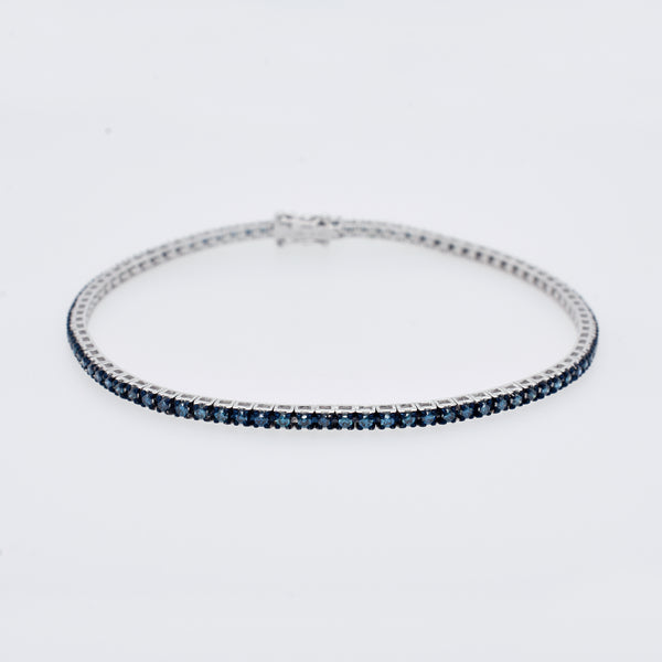 Blue Diamond Tennis Bracelet in White Gold