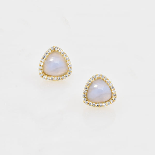 Blue Lace Agate Halo Studs