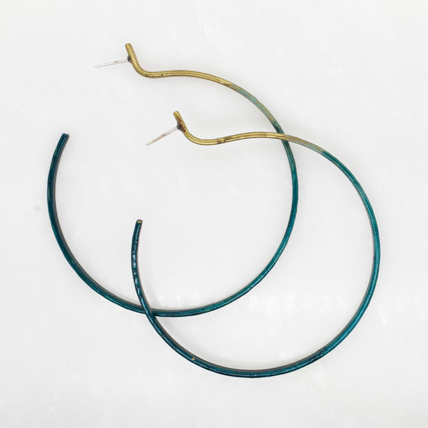 Blue Patina Hoops