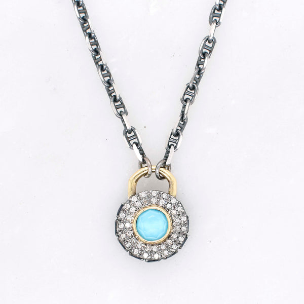 Old World Turquoise, Diamond, and Sapphire Necklace