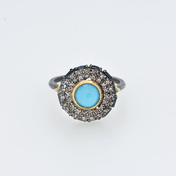 Old World Turquoise, Diamond, and Sapphire Statement Ring