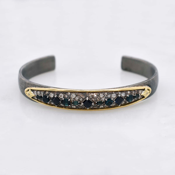 Old World Gemstone and Diamond Cuff bracelet