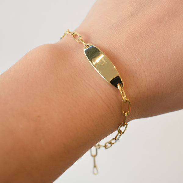 Gold Bar Paperclip Chain Bracelet