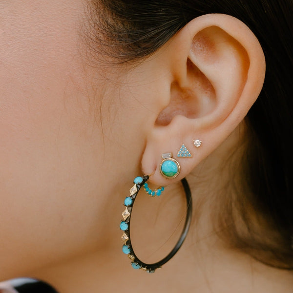 Old World Turquoise and Diamond Hoop Earrings