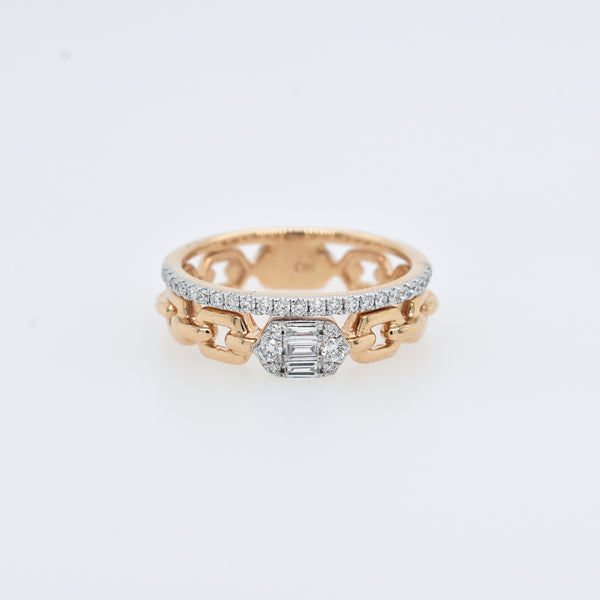 Stacked Eternity and Gold Chain Ring