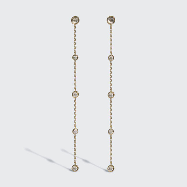 Scattered Champagne Diamond Drop Earrings