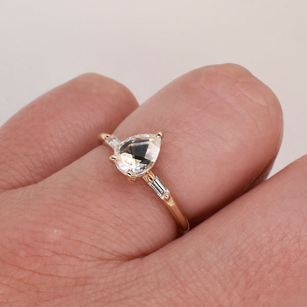Rose-Cut .70ct Pear Diamond Engagement Ring