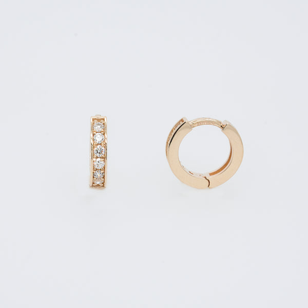 Channel Set Diamond Huggie Hoops