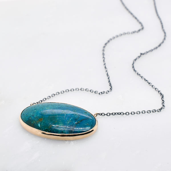 Horizontal Oval Chrysocolla Necklace