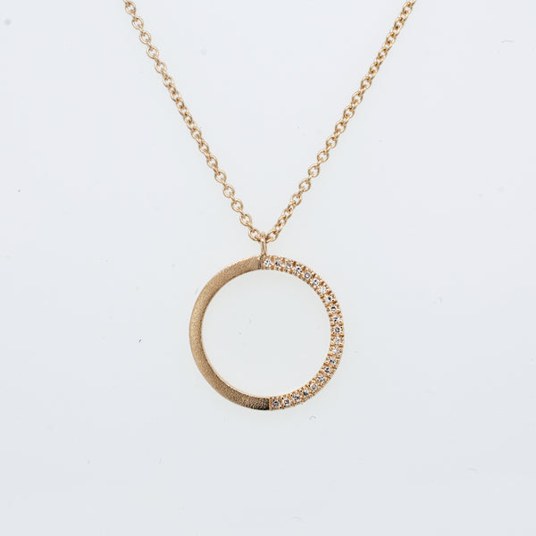 Crescent Pavé Diamond Circle Necklace