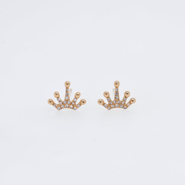 Pavé Diamond Crown Studs