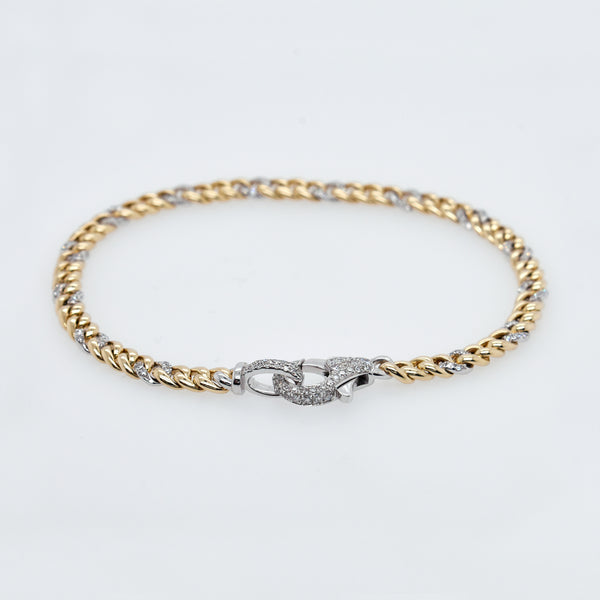 Gold and Diamond Link Curb Chain Bracelet